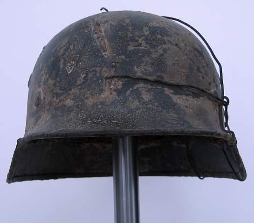 Two German Ardenne offensive helmet shells