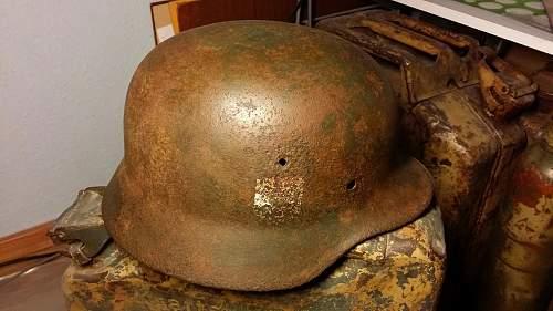 "Helmet from ""Operation Spring Awakening"" March 1945"