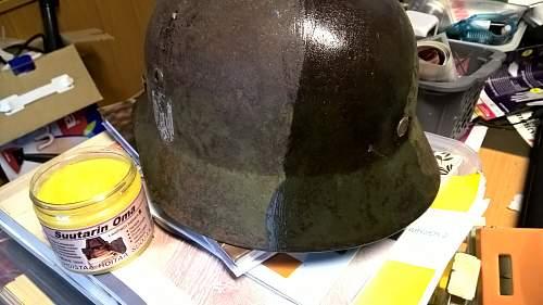 Removing rust from helmet