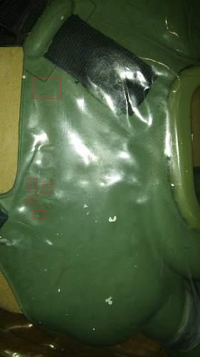 Damaged rubber on gas masks
