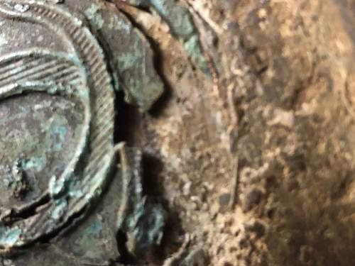 Romanian relic helmet with the copper cockade