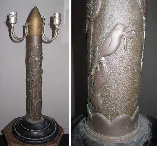 WWI Trench Art - Artillery Shell Lamp Needs TLC