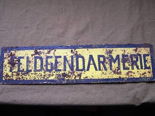 German vehicle Feldgendarmerie plate