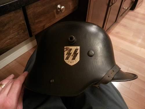Restored German helmets