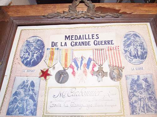 Framed set of WW1 French medals restored.