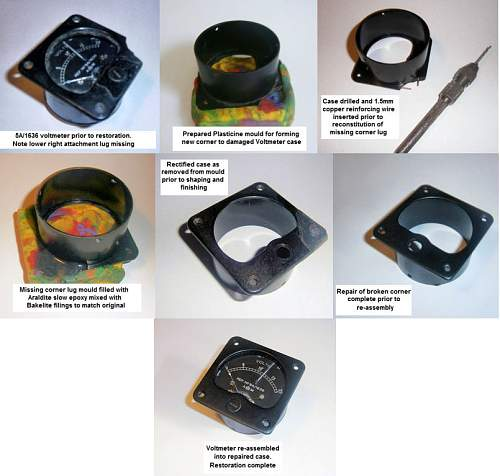 Repair for Air Ministry Bakelite Instrument cases and similarly damaged Bakelite components.