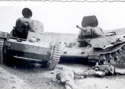 T 34 and T-26 Flamethrower tank with crew