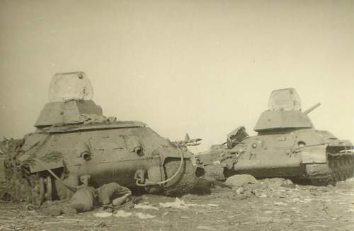 T 34, action, abandoned and destroyed tanks