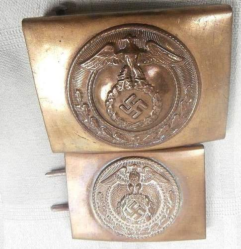 Overhoff marked buckle and smaller buckle