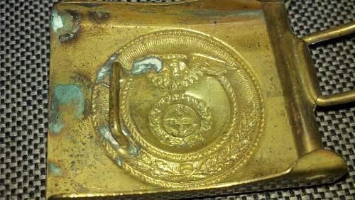 WWII SA Sun Wheel All Brass Buckle