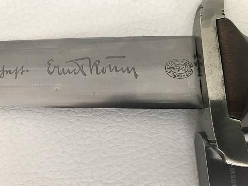 SA dagger with Ernst Röhm honor inscription