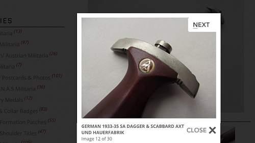 German 1933-35 sa dagger & scabbard axt und hauerfabrik