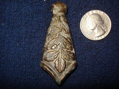 German Dagger Scabbard Tip, Oak Leaf design no screw holes, metal detector find.