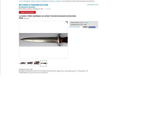 SA full Rohm RZM Fake dagger is doing well on auction