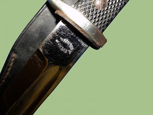 """A.Evertz KS98 dress bayonet with spanner nuts."""
