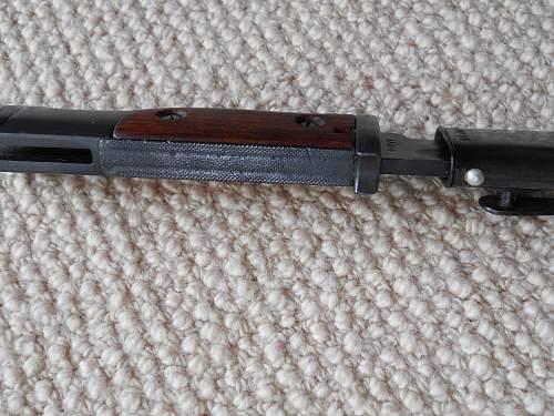 pre war K98 bayonet hatched flash guard