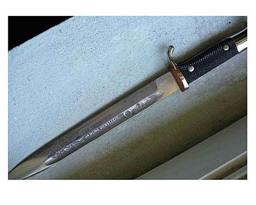 Engraved wwii dress bayonet fake?