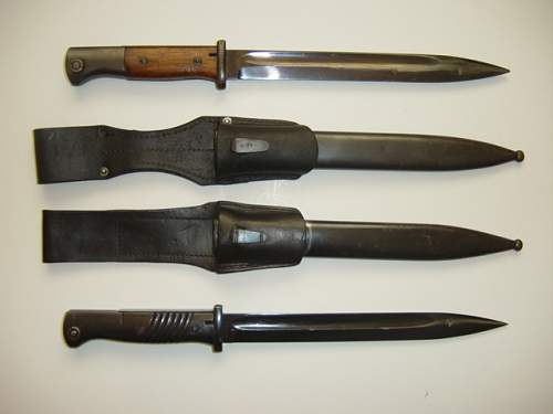 Click image for larger version.  Name:K98 bayonets and scabbards..jpg Views:1651 Size:130.9 KB ID:3987