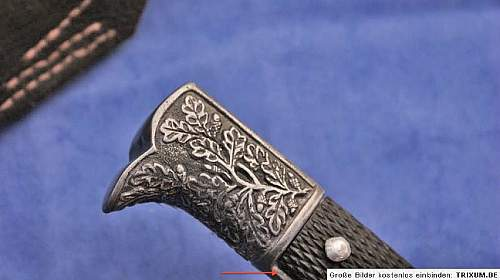 German bayonet pommel & crosspiece engraved