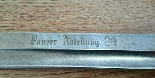 Panzer Abteilung 24 parade bayonet