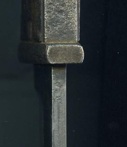 """K98 bayonet with no markings, only with """"a"""" on the spin blade"""