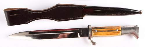 """""""Solingen"""" marked K98 dress bayonet w/ stag handle - authenticity check of frog as well please"""