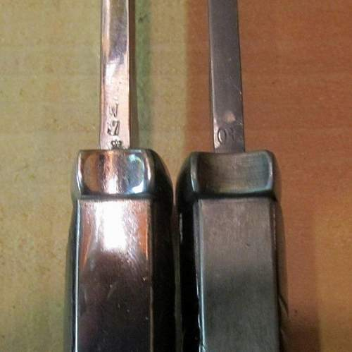Difference in ww1 84/98 and ww2 K98 Bayonet
