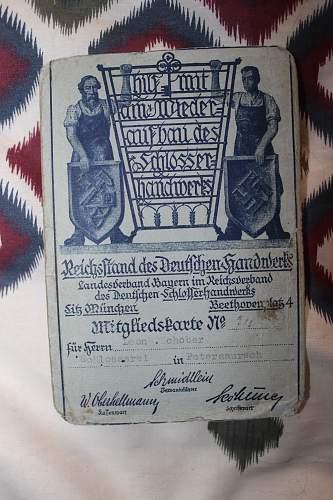 Reichsstand des Deutschen Handwerks mitgliedskarte 1934