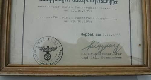 SS Panzerkampf Urkunde !