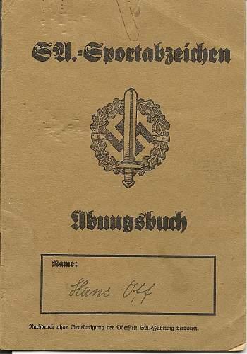 Polizei Dienstpass and Ausweiss.  SA Sports award booklet