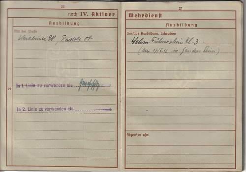 Translation of wehrpass to Albert Thur