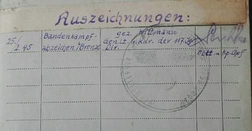 Bandenkampfabzeichen Soldbuch -  Legit?