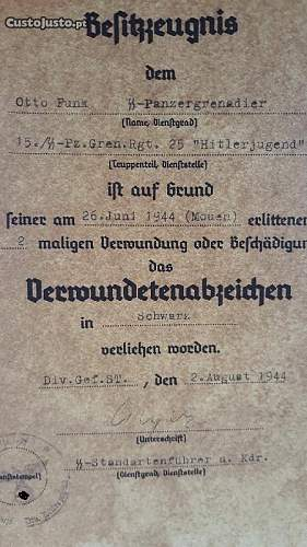 German decorations certificates
