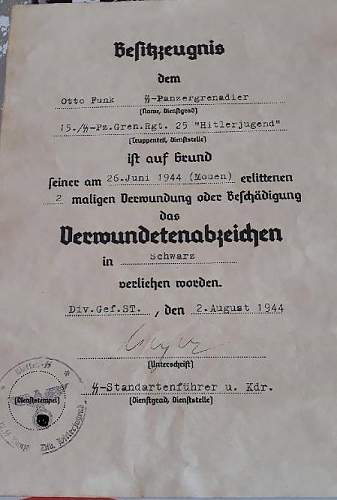 German decorations certificates