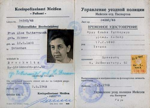September 1945 ID card - noticeably missing the nazi eagle etc