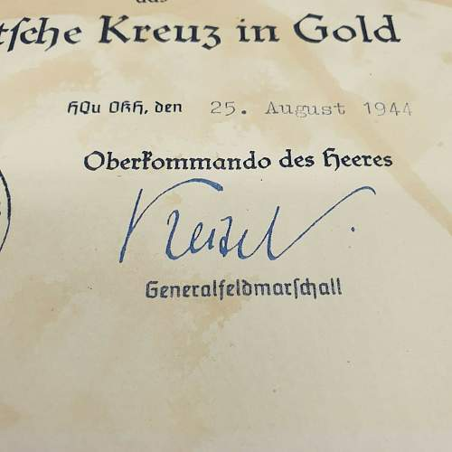 German Cross in Gold (DKiG) award document