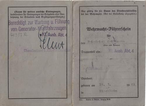 Wehrmacht fuhrerschein to friedrich nachtmann