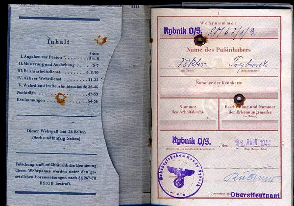 wehrpass 1944 Rybnik