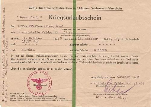 Kriegsurlaubsschein & Sonderausweis