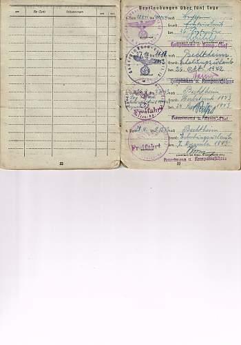 Soldbuch for a soldier who was in Dachau