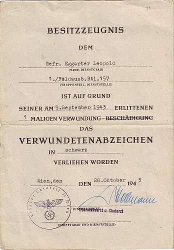 Infanterie sturmabzeichen & Soldbuch grouping