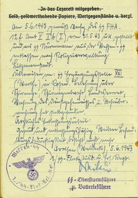 Soldbuch to a Waffen SS Flak gunner