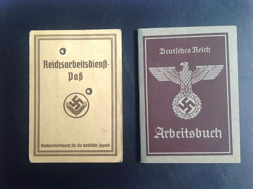 Arbeitsbuch , RAD I.D., postcard and ration cards
