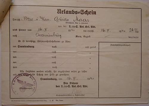 Waffen SS Temporary leave pass /Urlaubs schein
