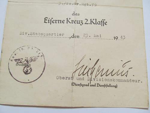 Originality of EK2 Award Document.