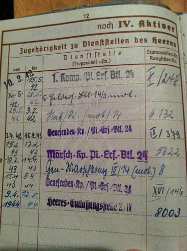 Kurt Oerfel's Wehrpass
