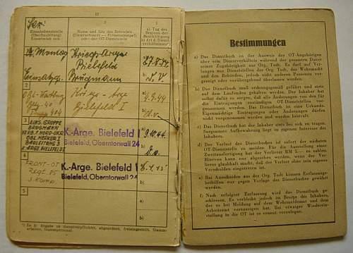 Organisation Todt Dienstbuch