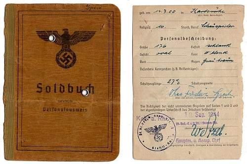 Partial 1944 Pioniere Soldbuch