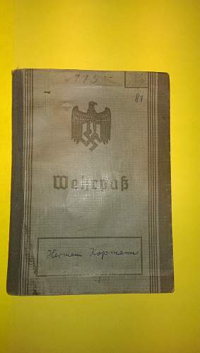 Wehrpass with English Translation