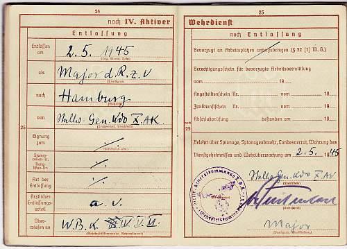 Wehrpass - Major Hermann Shubert